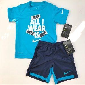 Nike dri-fit little boys set - new